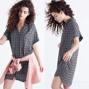 Madewell Thompson Plaid Black Shirt Dress Small